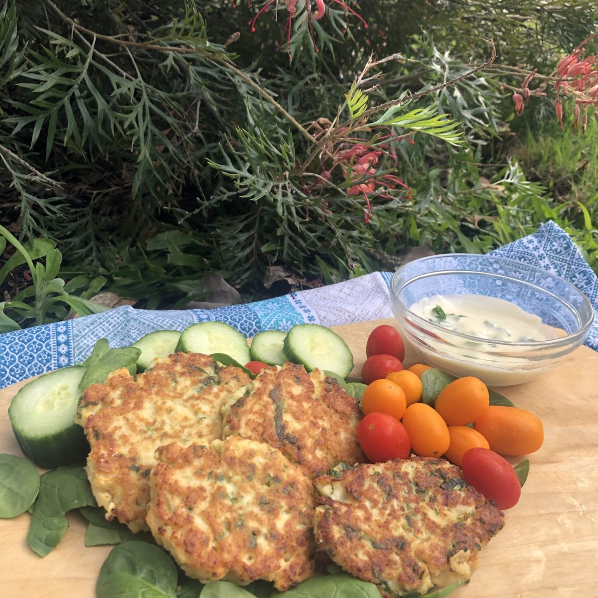 Cauliflower fritters with spiced yoghurt